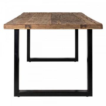 Masa dreptunghiulara cu blat din lemn de tec reciclat Raffles 78 x 240 x 100 cm maro/negru
