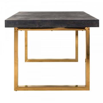 Masa dreptunghiulara extensibila cu blat din lemn de stejar Blackbone 77 x 180(225) x 100 cm gri inchis/auriu