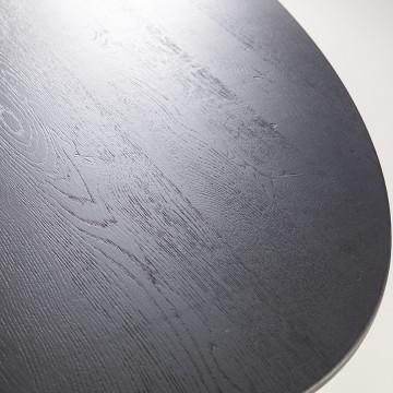 Masa ovala cu blat din lemn de stejar 240x110x76 cm neagra