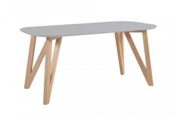 Masa ovala din lemn 200x90x76 cm gri/maro