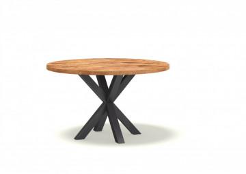 Masa rotunda cu blat din lemn de mango Basto 130x130x78 cm maro/negru