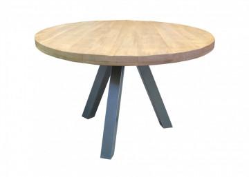 Masa rotunda cu blat din lemn de mango Tables & Benches 120x120x76 cm maro/argintiu
