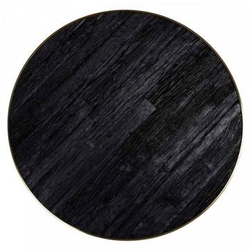 Masa rotunda cu blat din lemn de tec reciclat si sticla 78,5 x 140 x 140 cm neagra/ auriu