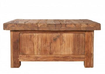 Masuta de cafea patrata din lemn de tec cu spatiu de depozitare Coral 85x85x40 cm maro