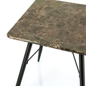 Masuta de cafea patrata din marmura si metal Richy 50x50x56 cm maro