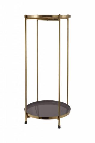 Masuta de cafea rotunda din fier 25x25x60 gri / auriu