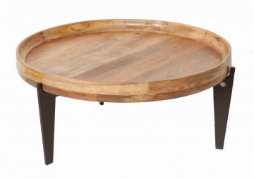 Masuta de cafea rotunda din lemn de mango Tom Tailor 75x75x34 cm maro/negru