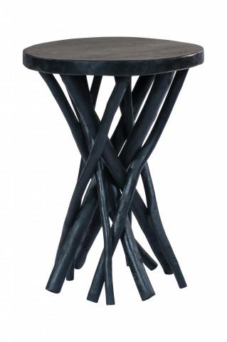 Masuta de cafea rotunda din lemn de tec Radix 40x40x55 cm neagra