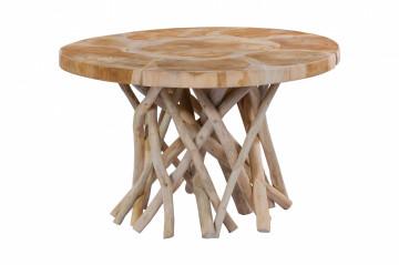 Masuta de cafea rotunda din lemn de tec Radix 65x65x40 cm bej