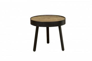 Masuta de cafea rotunda din lemn si metal 54x54x48 cm maro/negru