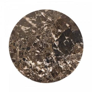 Masuta de cafea rotunda din marmura si metal Orion 60x45x45 cm maro