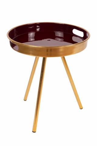 Masuta de cafea rotunda din metal Morrison 38x38x44,5 cm mov/auriu