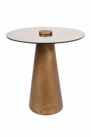 Masuta de cafea rotunda din metal si sticla Scotch 40x40x42,5 cm bej
