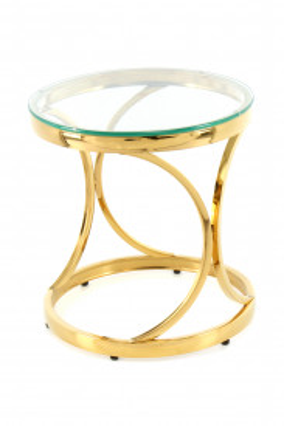 Masuta de cafea rotunda din sticla Weyda 40x40x42 cm transparenta/auriu
