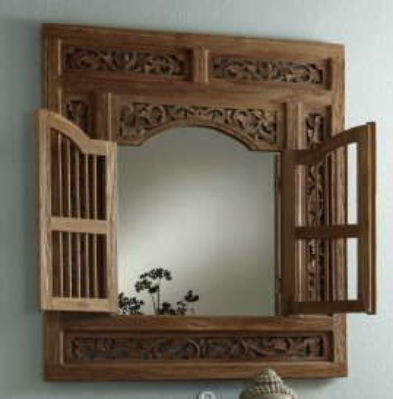 Oglinda cu rama din lemn cu 2 usi SEADRIFT, 80 x 5 x 90 cm
