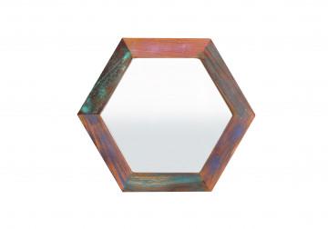 Oglinda hexagonala cu rama din lemn reciclat Fiume 30 cm