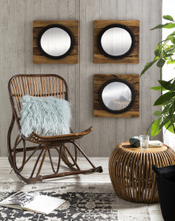 Oglinda patrata cu rama din lemn maro ROMANTEAKA, 50 x 4 x 50 cm