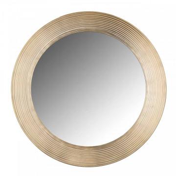 Oglinda rotunda cu rama din aluminiu aurie Morse, 54 x 54 x 2,5 cm