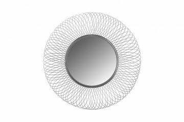 Oglindă rotunda cu rama din fier argintie 75x75x10 cm