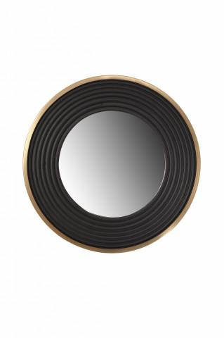Oglindă rotunda cu rama din fier si MDF negru/auriu 3x38x38 cm