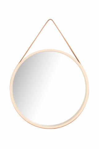 Oglinda rotunda cu rama din MDF crem/maro Ultima, 3,5-7,5cm (L / D) x 49,5cm (W) x 49,5cm (H)