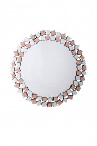 Oglinda rotunda Mosaic Argintiu / Roz