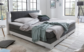 Pat Box spring 200 x 200 cm LED gray / white artificial leather