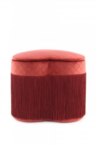 Puf/ Taburet in forma de inima tapitat cu spatiu pentru depozitare si franjuri Paola Bordeaux