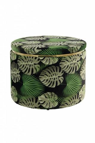 Puf / Taburet tapitat cu imprimeu Forest verde
