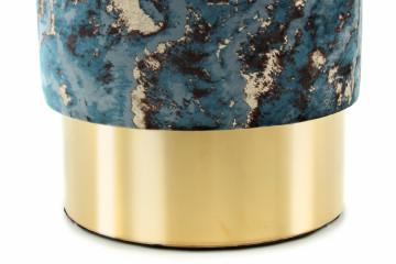 Puf/ Taburet tapitat cu imprimeu Gipsy albastru inchis / Auriu