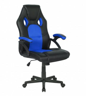 Scaun birou rotativ din imitație de piele ARVO negru/albastru