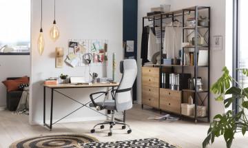 Scaun de birou din imitatie de piele gri