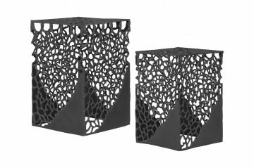 Set 2 masute de cafea patrate din aluminiu 28/32x28/32x43/49 cm negre