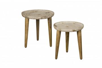 Set 2 masute de cafea rotunde din lemn 45x45x45 cm maro