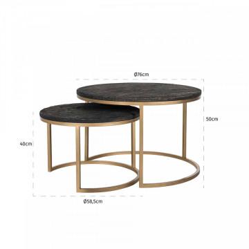 Set 2 masute de cafea rotunde din lemn Belfort 50x58,5x58,5 cm maro inchis