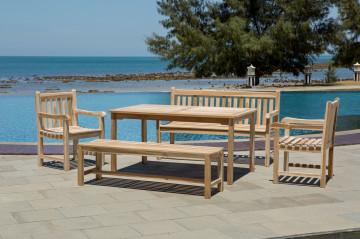 Set 2 scaune, 2 banci si masa pentru gradina din lemn de tec