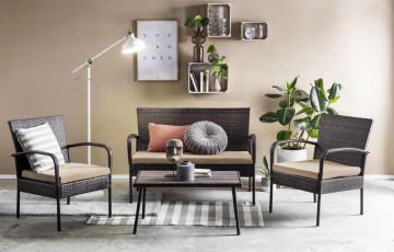 Set 2 scaune, banca si masa pentru gradina din ratan maro inchis