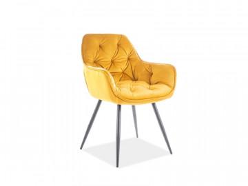 Set 2 scaune din catifea Cherry galben