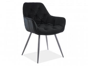 Set 2 scaune din catifea Cherry negru mat