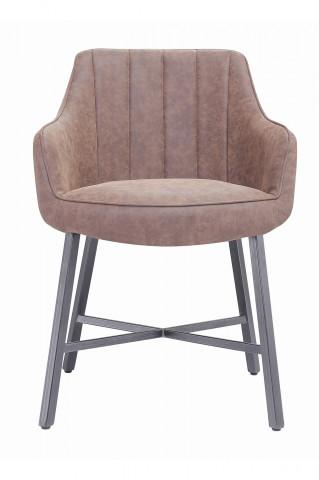 Set 2 scaune din imitatie de piele cu cotiere maro