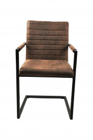 Set 2 scaune tapitate cu aspect de piele intoarsa Sit&Chairs maro