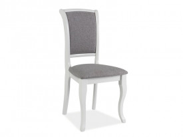 Set 2 scaune tapitate cu cadru din lemn gri/alb