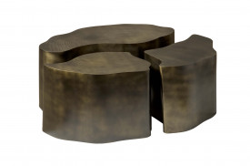 Set 3 masute de cafea cu formă neregulată din lemn 103x75x39 cm alama