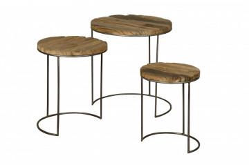 Set 3 masute de cafea rotunde din lemn 51x51x55 cm maro