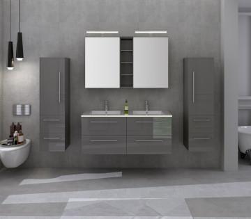 Set 4 piese mobilier din MDF pentru baie gri, 120 cm