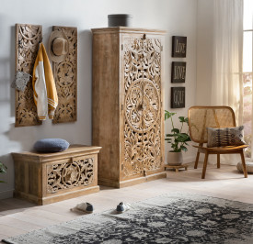 Set 4 piese mobilier pentru hol din lemn de mango Lakadee