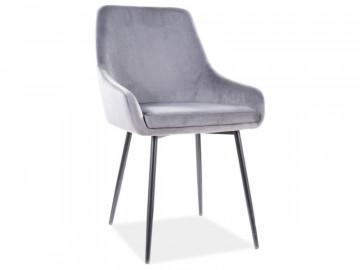 Set 4 scaune din catifea Albi gri/negru