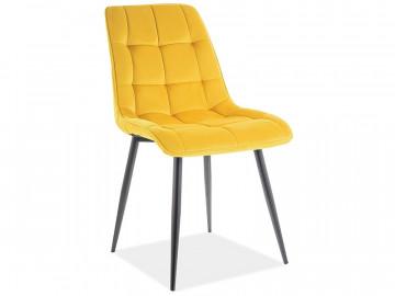 Set 4 scaune din catifea Chic galben mat