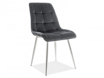 Set 4 scaune din catifea Chic negru/crom