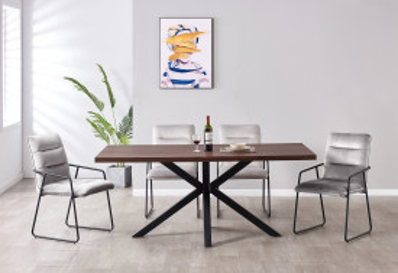 Set masa din MDF cu 4 scaune din catifea 52x66x88 cm/180x90x76 cm maro/gri deschis